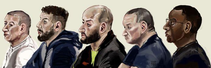 Rechtbanktekening van vijf van de zeven verdachten. Van links naar rechts: Mohamed A., Abdelhafid el B., A. A., Abdelghani A. en Abdirahman H.