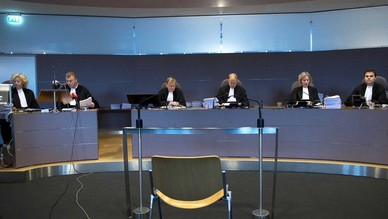 Een rechtszaak in Maastricht: de leden van de rechtbank tijdens de regiezitting van de Valkenburgse zedenzaak. Beeld ANP