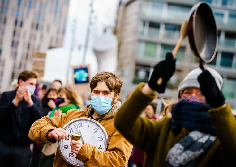 Demonstranten tijdens de klimaatdemonstratie in Rotterdam. Beeld ANP