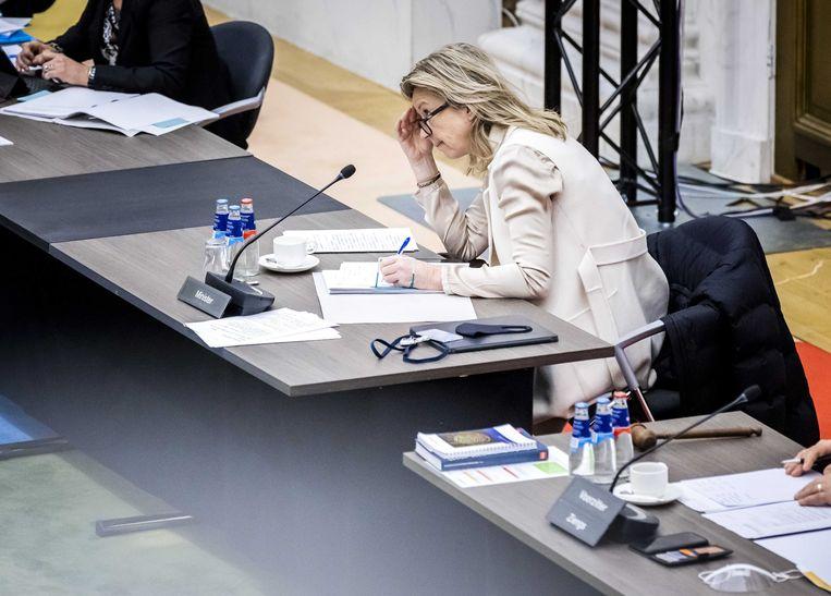 Minister Kajsa Ollongren (Binnenlandse Zaken) tijdens een notaoverleg in de Tweede Kamer over de Omgevingswet.  Beeld ANP