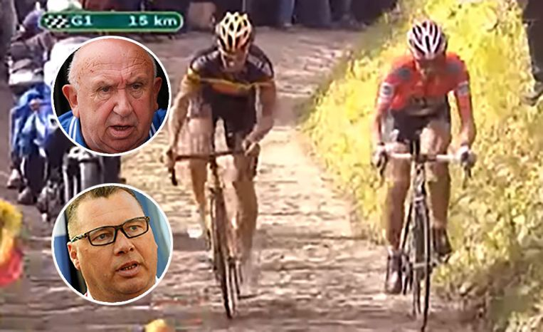 Cancellara rijdt op de Muur weg van Boonen tijdens de Ronde van Vlaanderen in 2010.