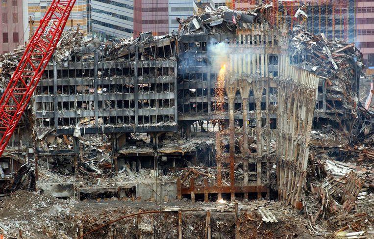 De ravage op Ground Zero na de vreselijke terreuraanslagen van 9/11 in New York City.