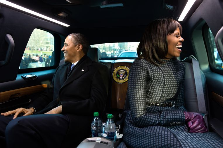 President Barack Obama and First Lady Michelle Obama in een parade in Washington D.C.  Beeld The White House / Pete Souza