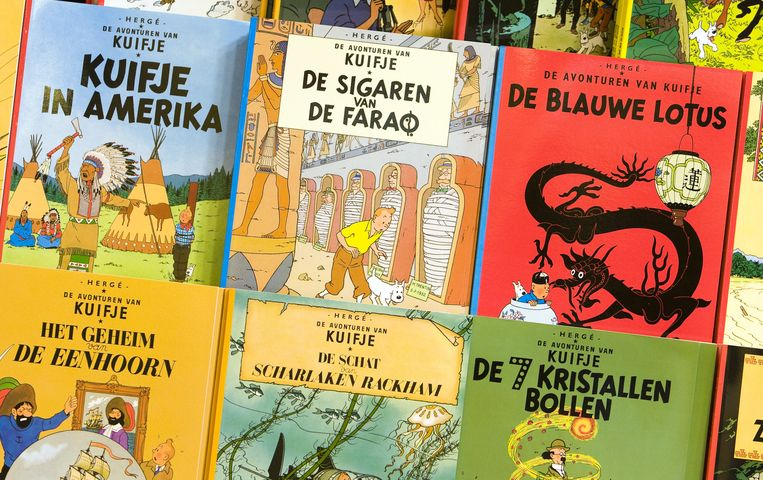 Kuifje-stripboeken. Een alternatieve cover voor 'De blauwe lotus' bracht deze week dik 3 miljoen euro op. Beeld anp
