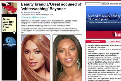 """A gauche, la photo de la campagne et à droite, Beyoncé """"au naturel""""."""