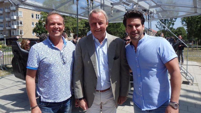 Ron Schouten (Dinner in the sky), Jan Semeins (Amsterdamse Proeflokaal) en Lars Bense (Watch for business): 'Tot en met vrijdagavond. Beleving. Daar doen wij in.' Beeld Schuim