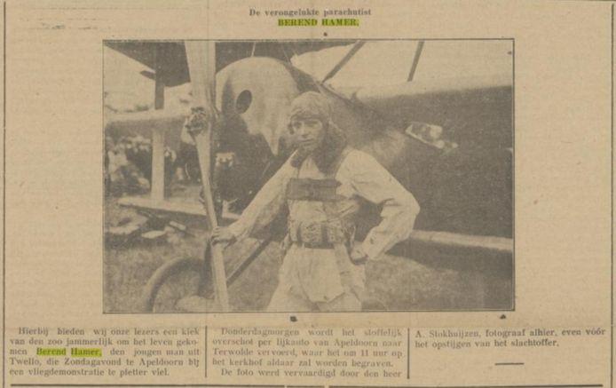 De foto van Berend Hamer, gemaakt vlak voor zijn dood, en gepubliceerd in de Apeldoornsche Courant in 1921.