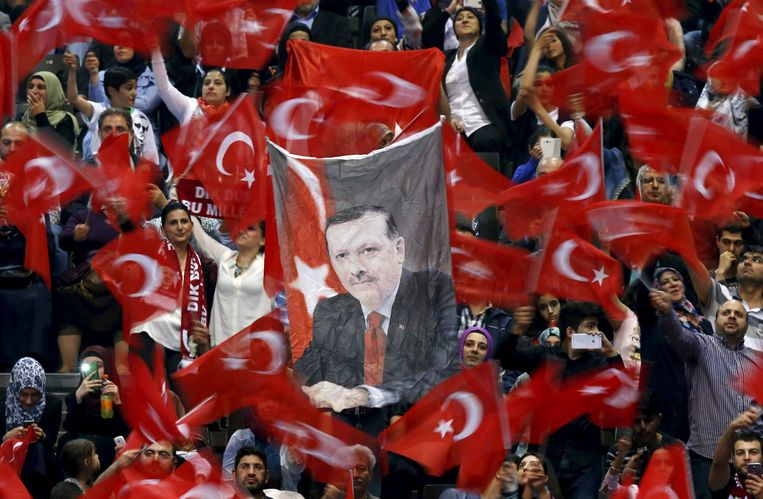 In 2015 kwam de Turkse president wel nog naar België voor een verkiezingsbijeenkomst. Toen werd hij enthousiast ontvangen in de Ethias Arena in Hasselt. Beeld REUTERS