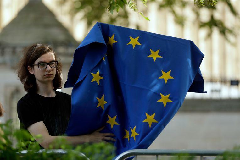 Een vrouw zwaait met de Europese vlag in Londen. Beeld AP