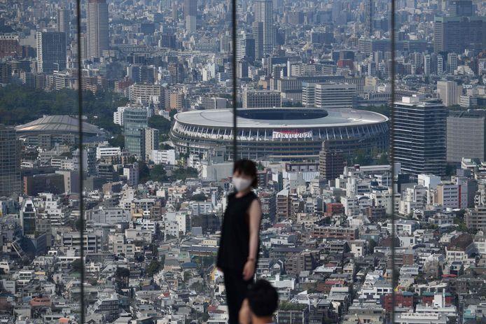 Zicht op het Nationaal Stadion, hoofdlocatie voor de Olympische Spelen in Tokio.