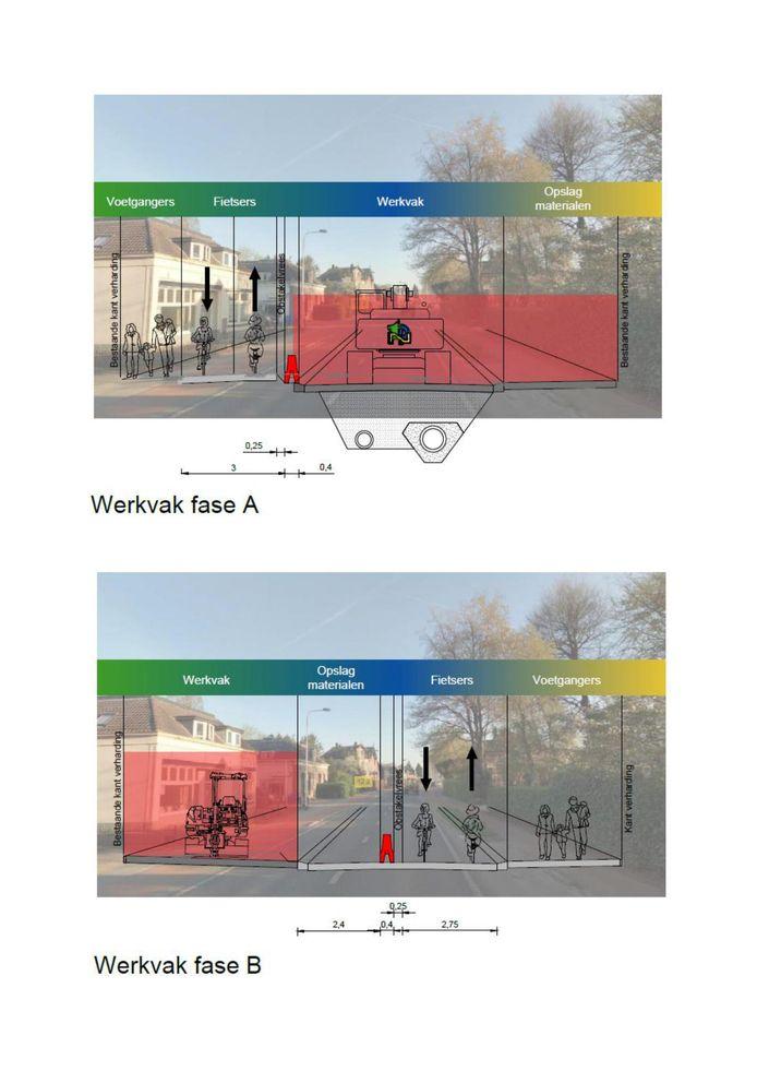 Illustratie beoogde aanpak van de Rijksstraatweg in Voorst.
