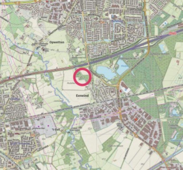 Het wijkje Kavelaars komt net onder de N270. Op de kaart ligt Eindhoven links, Nuenen boven en Eeneind onder.