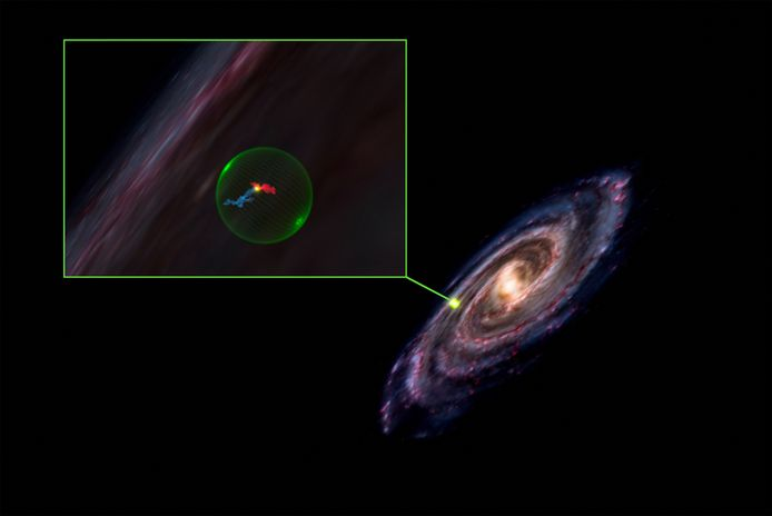 Cette image distribuée le 22 septembre 2021 par le Center for Astrophysics Harvard et le Smithsonian montre une vue d'illustration zoomée (à gauche) de la cavité sphérique découverte (dont l'emplacement est indiqué à droite) dans la Voie lactée, ainsi que les nuages moléculaires de Persée et du Taureau (en bleu et en rouge), respectivement.