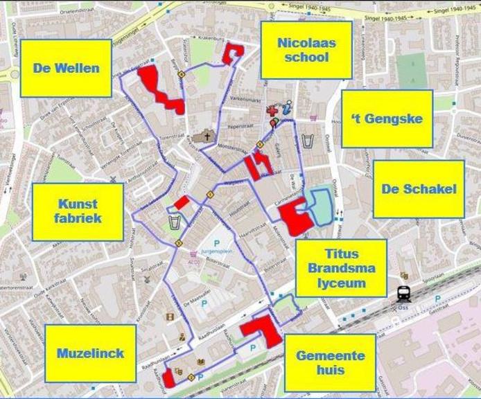 De route van de tweede editie van de Oss City Run.