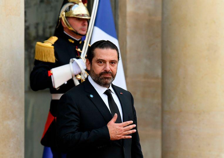 De Libanese premier Saad Hariri woonde maandag een kerkdienst ter nagedachtenis aan Jacques Chirac bij. Beeld AFP