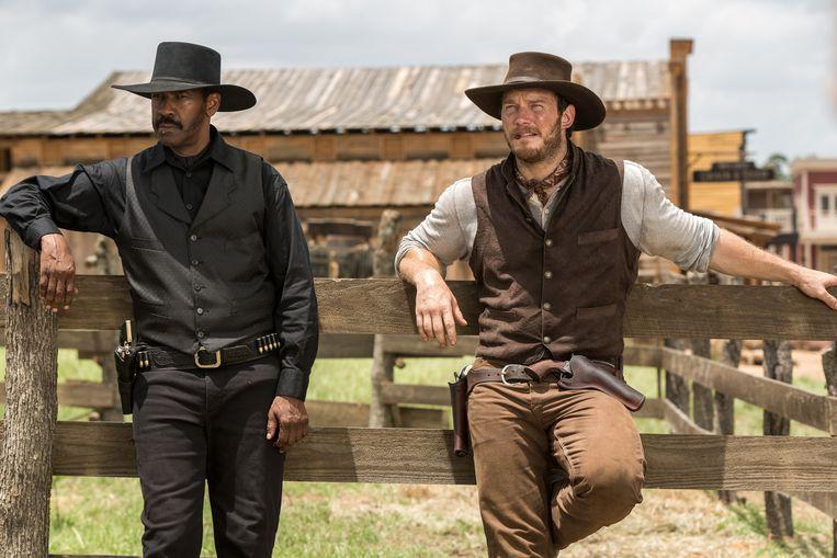 Denzel Washington en Chris Pratt in 'The Magnificent Seven' Beeld AP