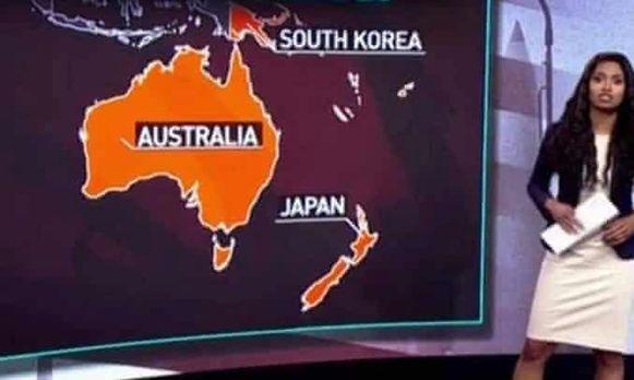 Op de kaart stonden Nieuw-Zeeland en Papua New Guinea foutief aangeduid als Japan en Zuid-Korea.