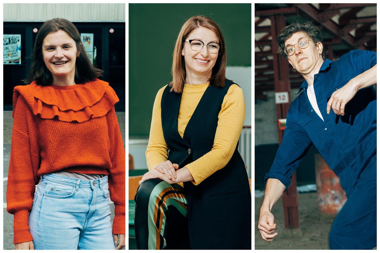 Emma Messely (JC Ten Goudberge), Saïda El Fekri (Safe Space) en Lucas Dewulf (Nerdlab). Beeld Illias Teirlinck