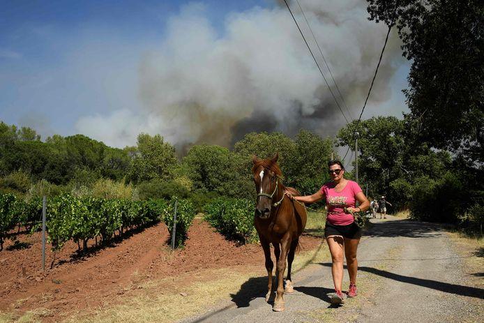 Una donna evacua un cavallo vicino a Gonfaron.