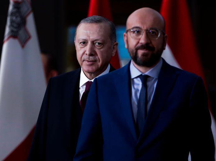 Charles Michel et Recep Erdogan à Bruxelles en mars 2020.