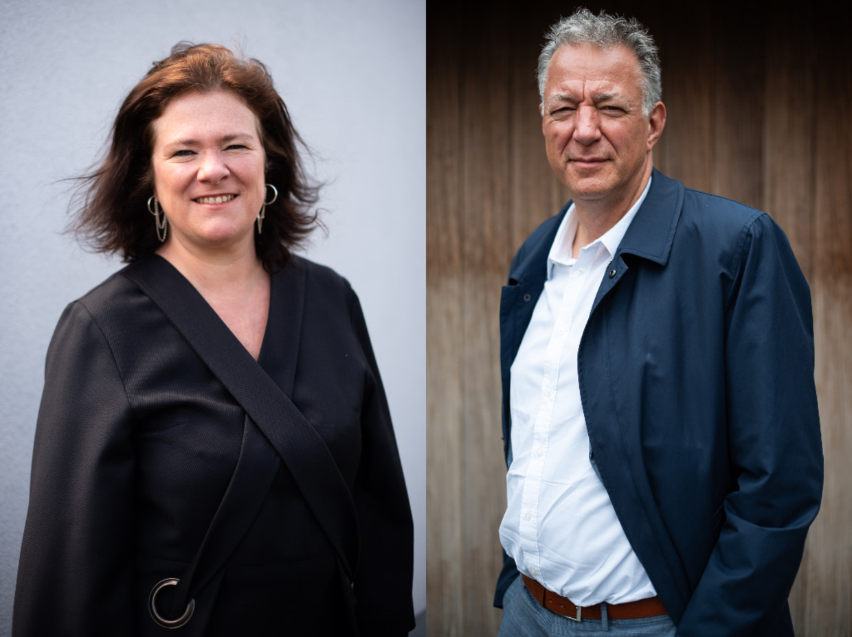 Margot Cloet (Zorgnet-Icuro) en Luc Van Gorp (CM). Beeld Wouter Maeckelberghe