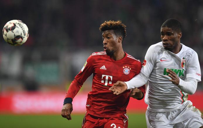Bayern-uitblinker Kingsley Coman  in duel met Kevin Danso.