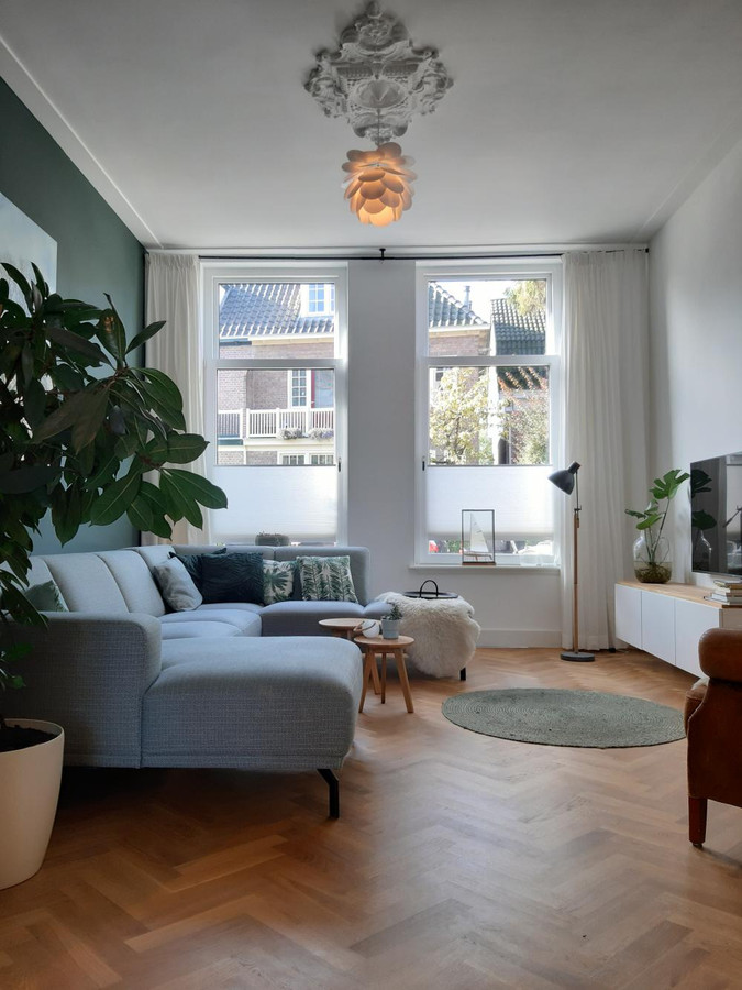 Visgraat vloer en een origineel element bij de lamp aan het plafond.