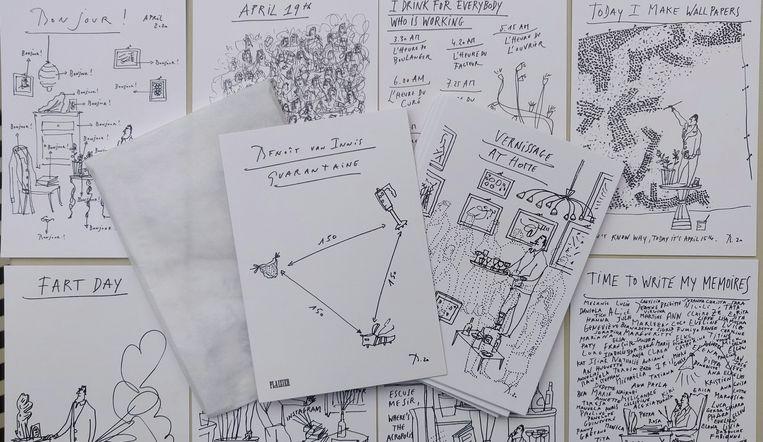 Kunstenaar en cartoonist Benoît van Innis maakt sinds de corona-quarantaine iedere dag een tekening. Beeld RV