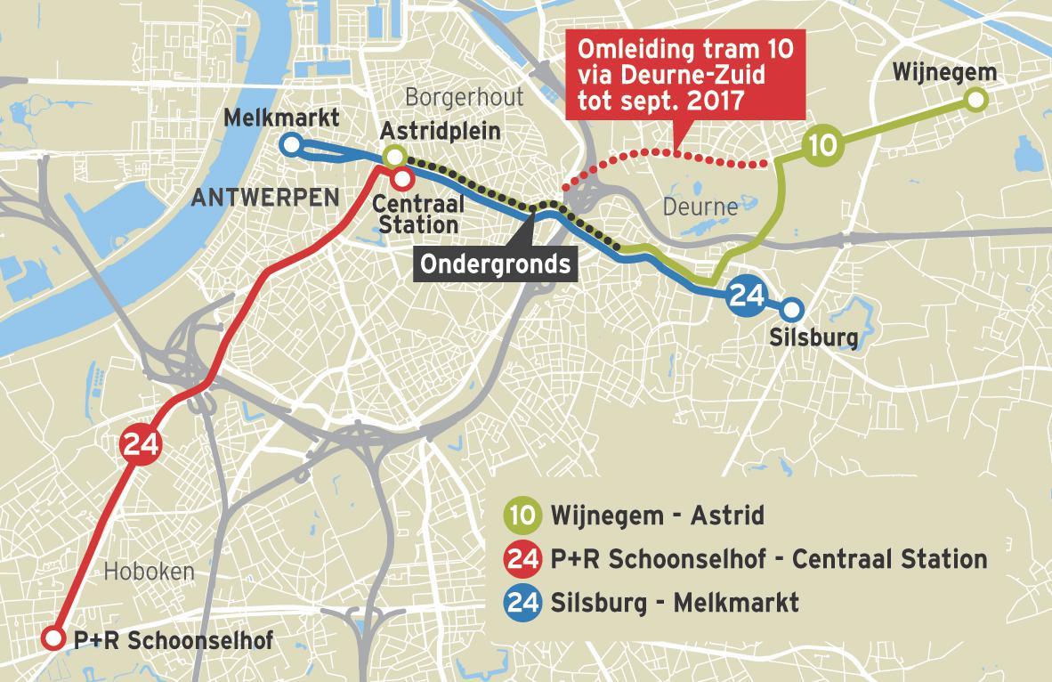 Tram 24 is de enig overgebleven tram die nog bovengronds door Borgerhout rijdt.