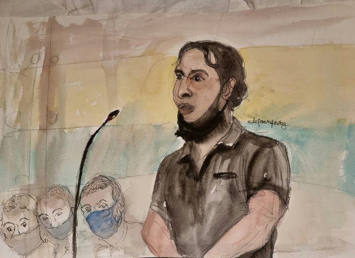 Un croquis d'artiste montre Salah Abdeslam, l'un des accusés, qui est largement considéré comme le seul membre survivant du groupe soupçonné d'avoir perpétré les attentats de novembre 2015 à Paris, lors du premier jour du procès au palais de justice de Paris sur l'île de la Cité à Paris, en France, le 8 septembre 2021.
