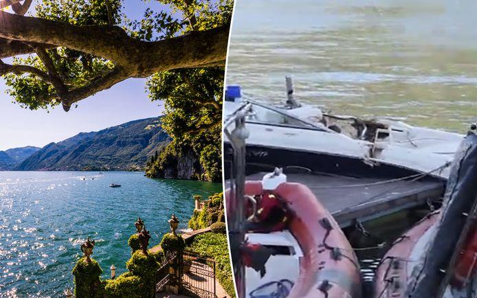 Het ongeval gebeurde op het Comomeer in Italië. Rechts een van de beschadigde boten.