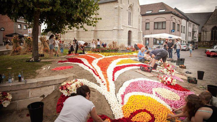 Het bloementapijt voor De Pikkeling in Moorsel op een vorige editie.