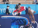 Biles tijdens haar sprong dinsdag tijdens de team-allroundfinale.