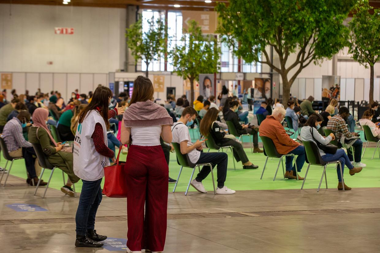 Het vaccinatiecentrum in Brussels Expo op de Heizel. Beeld BELGA
