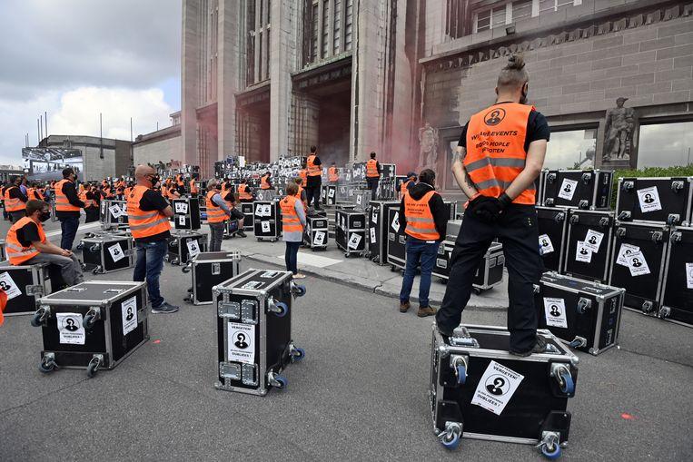 Archiefbeeld van een protestactie van de eventsector in Brussel. Beeld BELGA