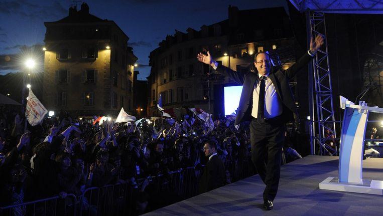 François Hollande na zijn overwinning in zijn woonplaats Tulle. Beeld afp