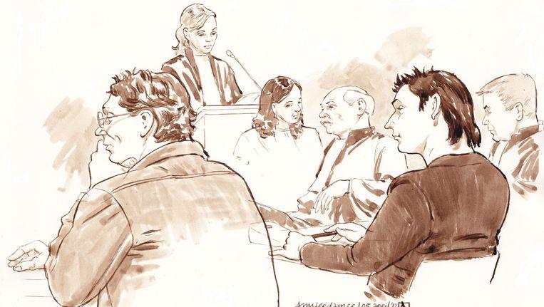 Robert M. (rechts) en zijn partner Richard van O. tijdens de rechtszaak van de Amsterdamse zedenzaak. Beeld ANP