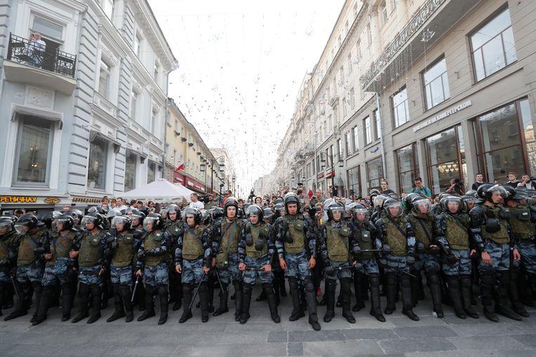 De oproerpolitie in Moskou op 27 juli 2019. Beeld EPA