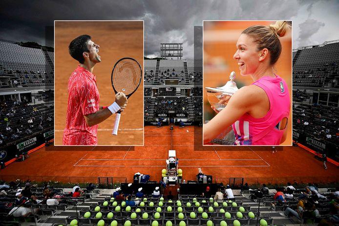 Het Masters-toernooi van Rome. Inzetjes: Novak Djokovic en Simona Halep.