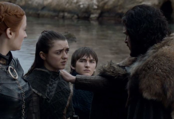 De Starks nemen afscheid van elkaar.