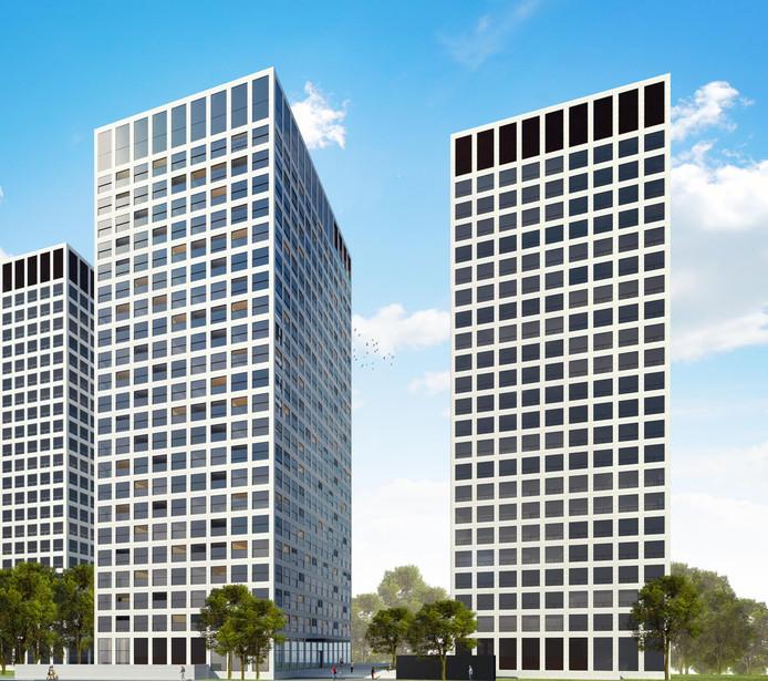 De Marconitorens in Rotterdam; twee van de drie worden omgebouwd tot woningen door de Eindhovense bedrijven Bakkers Hommen Waerdevast en Foolen en Reijs. Ontwerp: Diederendirrix architecten, ook uit Eindhoven.