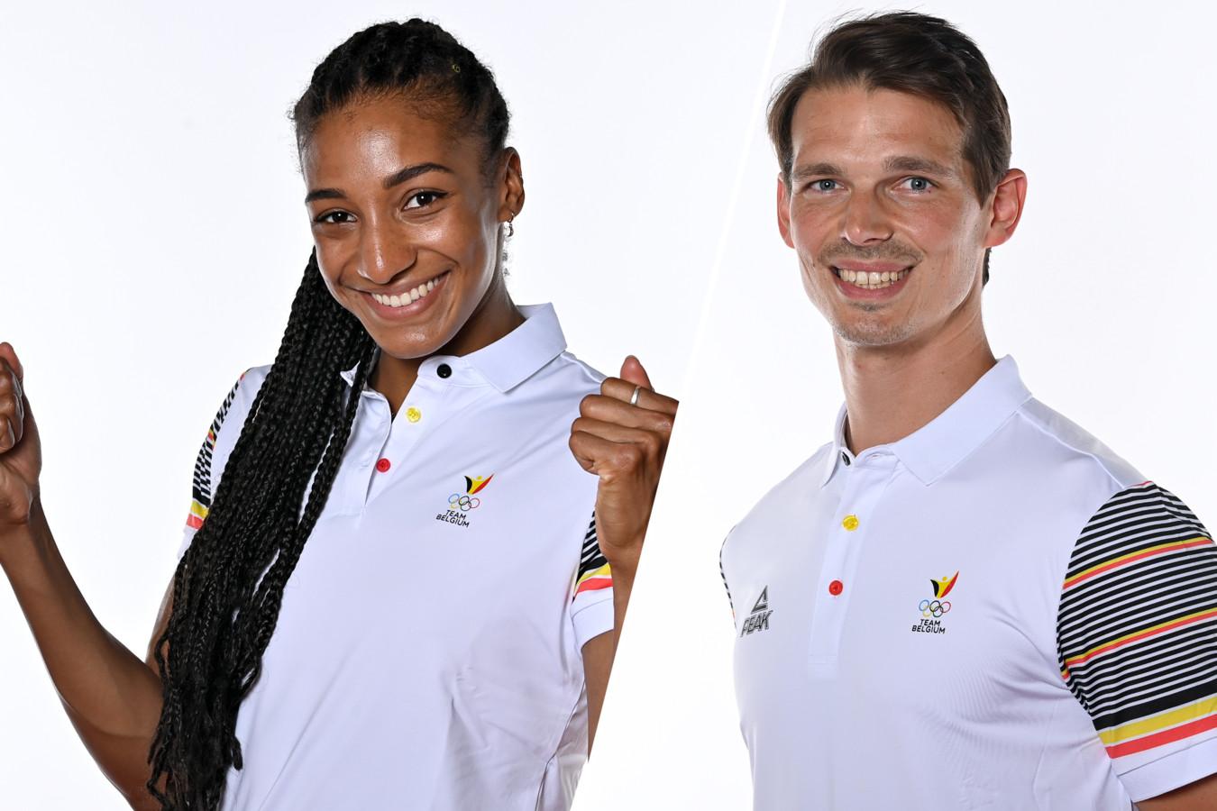 Nafi Thiam et Felix Denayer, les deux porte-drapeaux de la délégation belge pour la cérémonie d'ouverture des Jeux de Tokyo.