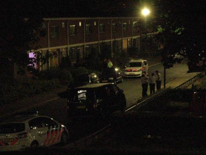 De politie in de straat op 30 juli 2014, nadat een collega een man heeft neergeschoten. Foto archief / Henk van 't Veen
