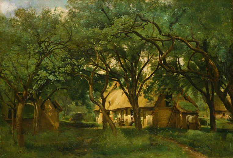 Hier wordt de omgeving van Honfleur geteisterd in een decor van Jean-Baptiste-Camille Corot (1796-1875). Beeld Jean-Baptiste-Camille Corot
