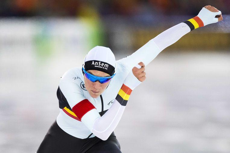 Bart Swings in actie op de 1.500 meter tijdens het EK allround in Thialf, Heerenveen. Beeld ANP