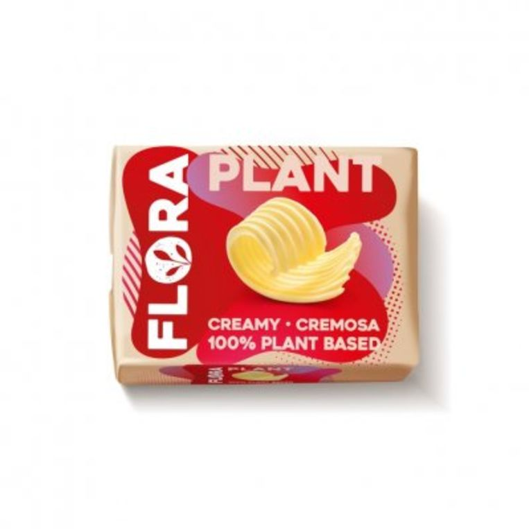 Flora Plant 'creamy 100% plant based' boter. Beeld