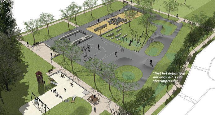 Een sfeerimpressie zoals het Urban Ox Park er in Oss uit zou kunnen gaan zien.