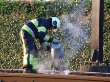 Bielzen in brand op het spoor bij Boxtel