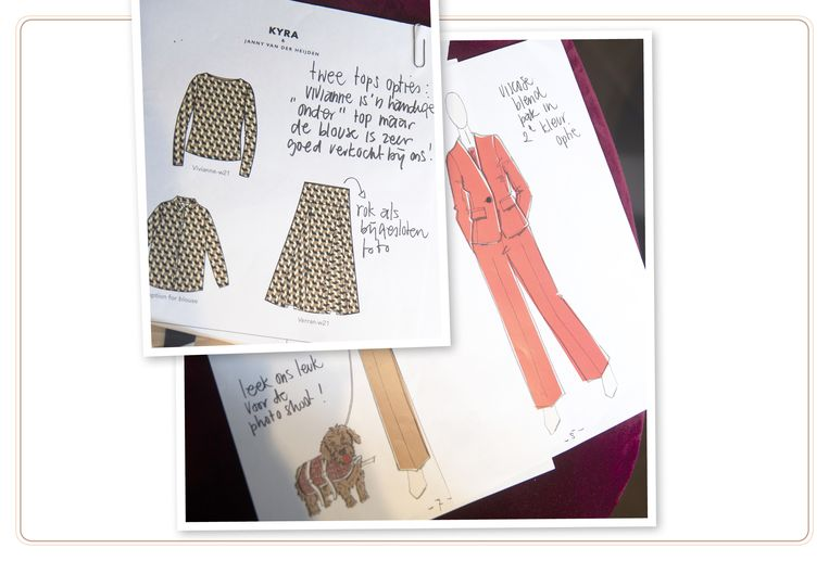 null Beeld Schetsen van Janny's modecollectie die ze samen met het kledingmerk Kyra & Co ontwierp.