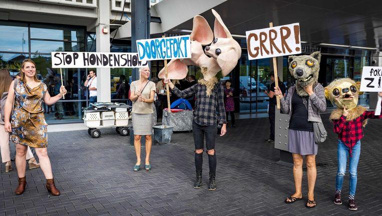 Actievoerders van Dier&Recht demonstreerden donderdag tegen de World Dog Show in de RAI Beeld ANP